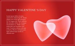 Carte de Saint-Valentin avec le texte et deux coeurs Photo libre de droits