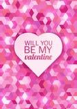 Carte de Saint-Valentin sur un fond rose de mosaïque Illustration de vecteur Photographie stock libre de droits