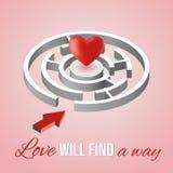 Carte de Saint-Valentin sur un fond rose Labyrinthe blanc isométrique avec un coeur rouge Illustration de vecteur Photographie stock libre de droits