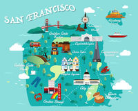 Carte de San Francisco Attractions Vector And Illustration Photo stock