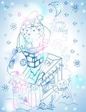 Carte de Santa Claus Christmas avec les cadeaux et le bonhomme de neige Photo libre de droits