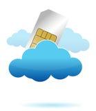 Carte de SIM dans l'illustration de nuage Images stock