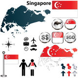 Carte de Singapour Photo stock