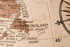 Carte de Terre-Neuve Photographie stock