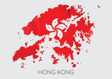 Carte de texture de Hong Kong With Flag As Image libre de droits
