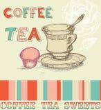 Carte de thé de café Photo stock