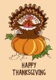 Carte de thanksgiving avec l'oiseau de potiron et de dinde Photo stock