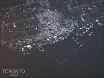 Carte de Toronto, vue satellite, ville, Ontario, Canada Images libres de droits