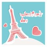 Carte de Tour Eiffel plus de coeurs pour le jour de San va illustration stock