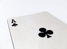 Carte de trèfles/clubs d'Ace avec le fond blanc Image libre de droits