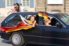 Carte de travail 2010 du football : Ventilateurs allemands   Photos stock