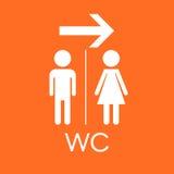 Carte de travail, icône plate de vecteur de toilette Signe d'hommes et de femmes pour des toilettes dessus Images stock