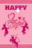 Carte de vacances avec des anges mignons, oiseau de colombe, coeur sur le rose Photo libre de droits