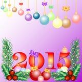 Carte de vacances avec des boules pour saluer avec la bonne année et le Joyeux Noël Photographie stock