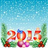 Carte de vacances avec des boules pour saluer avec la bonne année et le Joyeux Noël Photos libres de droits