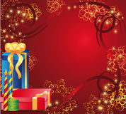 Carte de vacances avec des cadeaux Photographie stock libre de droits