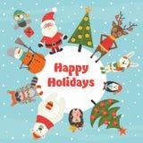 Carte de vacances avec des caractères de Noël illustration de vecteur