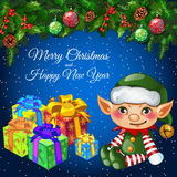 Carte de vacances avec le décor, l'elfe et les cadeaux de Noël Photo libre de droits