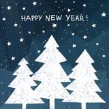 Carte de vacances de bonne année sur lowpoly le fond avec le lettrage tiré par la main Images libres de droits