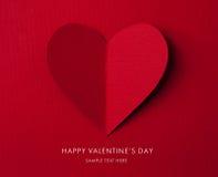 Carte de vacances. Coeur du jour de Valentines de papier image libre de droits