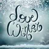 Carte de vacances d'hiver avec le lettrage d'hiver d'amour Photo stock