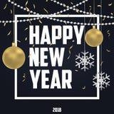 Carte de vacances de nouvelle année avec des boules de Noël d'or et des flocons de neige argentés, des confettis d'or et des perl illustration stock