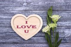 Carte de Valentine avec amour U des textes I Photographie stock libre de droits
