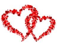 Carte de Valentine avec coeurs Photos stock