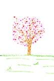 Carte de Valentine avec l'arbre et coeurs d'isolement Photographie stock
