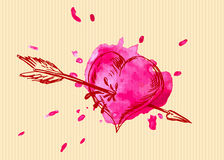 Carte de Valentine avec l'overshoot de coeur Image libre de droits