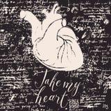Carte de Valentine avec le coeur et les inscriptions humains Photo stock