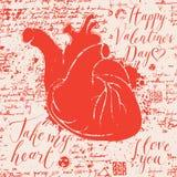 Carte de Valentine avec le coeur et les inscriptions humains Photos stock