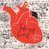Carte de Valentine avec le coeur et les inscriptions humains Photo libre de droits