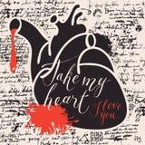Carte de Valentine avec le coeur, le sang et les mots humains Image libre de droits