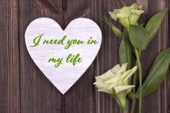 Carte de Valentine avec le texte j'ai besoin de vous dans mon vert de la vie Photo stock