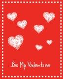 Carte de Valentine avec les coeurs et le texte tirés par la main Photos stock