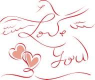 Carte de Valentine avec marquer avec des lettres je t'aime Photographie stock