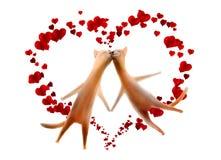 Carte de Valentine. Chats avec des coeurs d'isolement sur le blanc Photos libres de droits