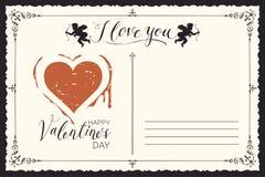 Carte de valentine de cru avec les inscriptions et le coeur illustration libre de droits