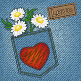 Carte de valentine de jeans Photo libre de droits