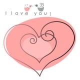 Carte de Valentine. deux coeurs avec des oiseaux Image stock