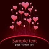 Carte de Valentinei avec des coeurs Photo libre de droits