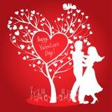 Carte de valentines de Greating avec des couples de danse Photos stock