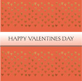 Carte de valentines de saint avec le texte et petits coeurs d'or sur le fond orange Photo libre de droits