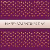 Carte de valentines de saint avec le texte et petits coeurs d'or sur le fond pourpre Photographie stock libre de droits