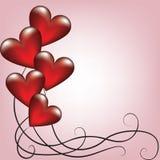 Carte de valentines de salutation avec des ballons Photos stock
