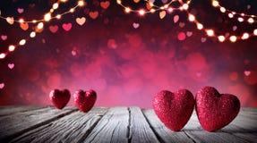 Carte de valentines - deux coeurs Photographie stock libre de droits
