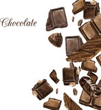 Carte de vecteur avec des chocolats dessinant par l'aquarelle Images libres de droits