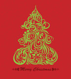 Carte de vecteur avec l'arbre de Noël Images libres de droits