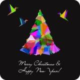 Carte de vecteur avec l'arbre de Noël abstrait Photos libres de droits